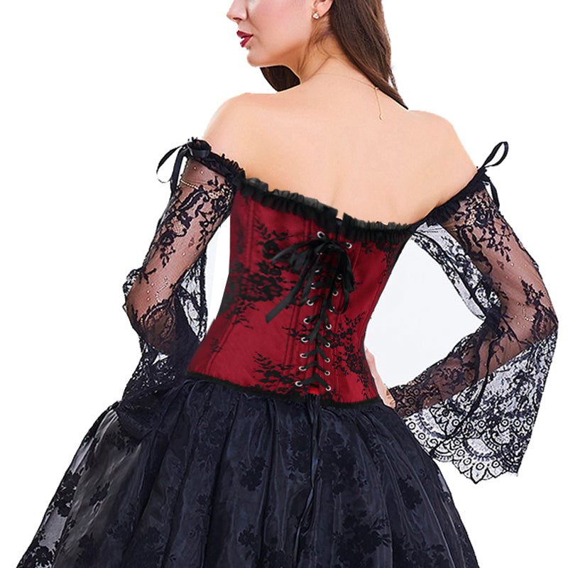 'Witchery' Red off the shoulder lace sleeved corset. S-6XL