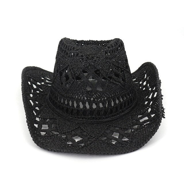 Lace gothic sun cowboy hat. Black, white or straw coloured