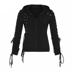 Gothic Lace up Black Hoodie