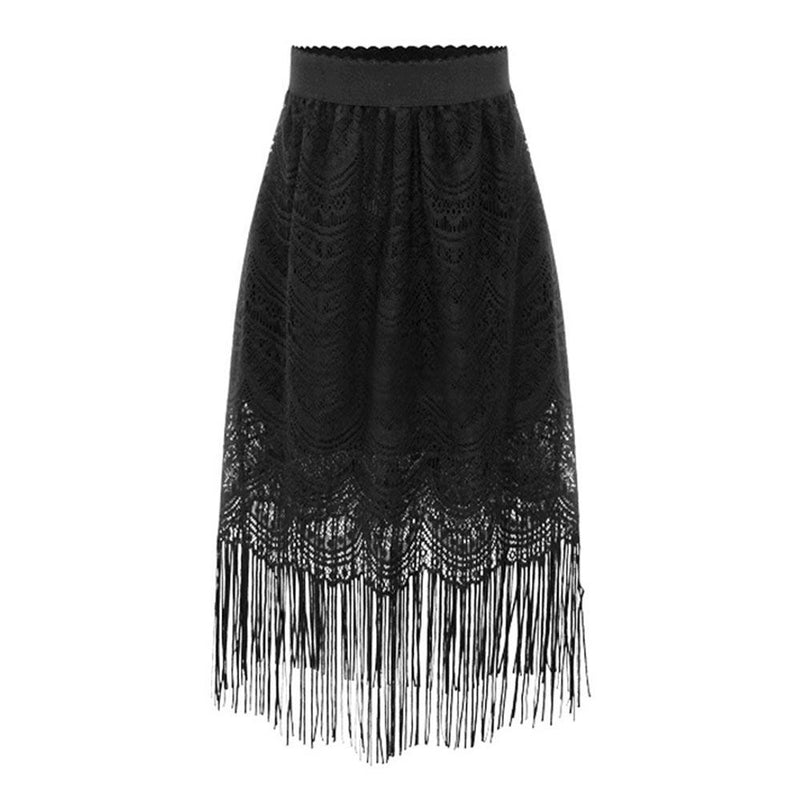 'Dark Queen' Lace Tassle Goth Skirt. Sizes S-4XL