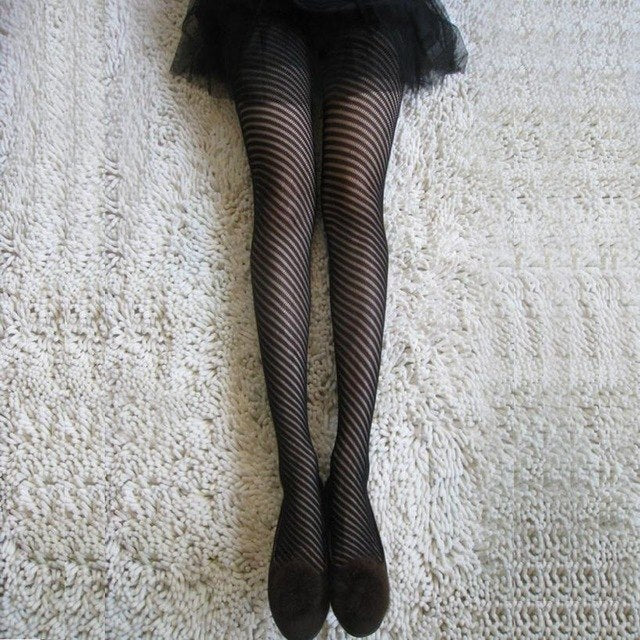 Diagonal Pinstripe Tights