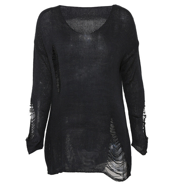 'Sleepy Hollow' Black Ripped Torn Sweater