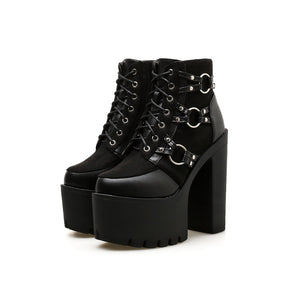'Get your Goth On' Gothic Platform Ring Boots