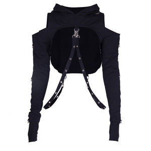 'Black' Ring Strap Hooded top