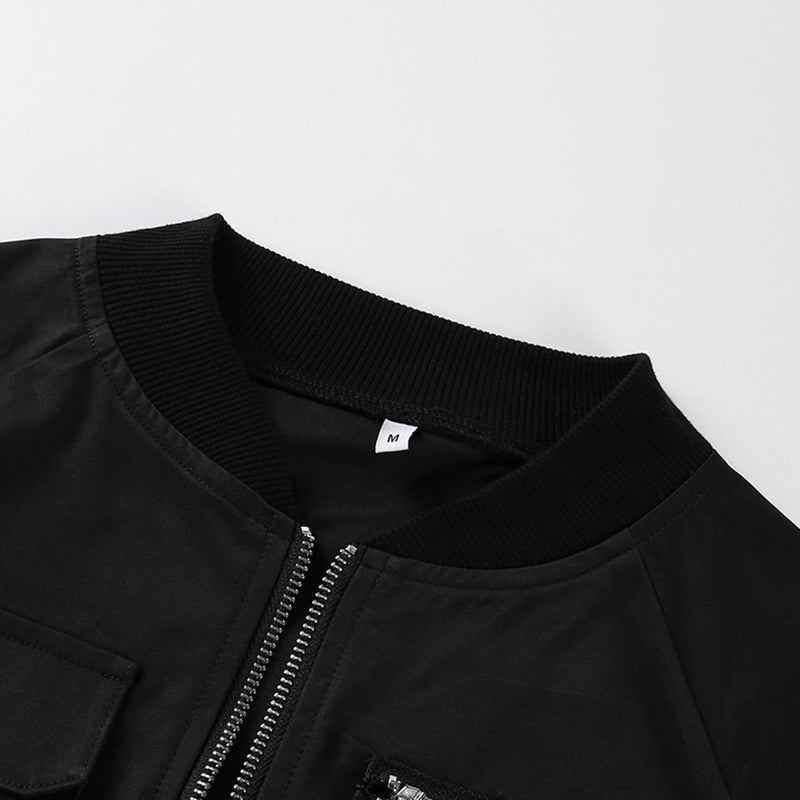 'Bombshell' Black buckle bomber jacket