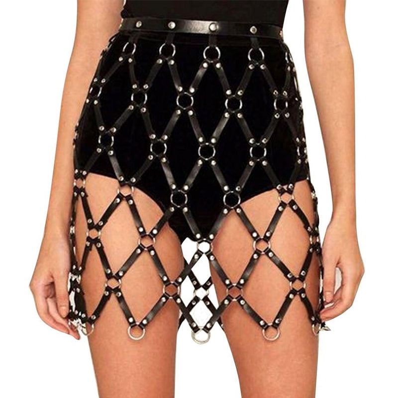'Haunting' Black faux leather skirt harness