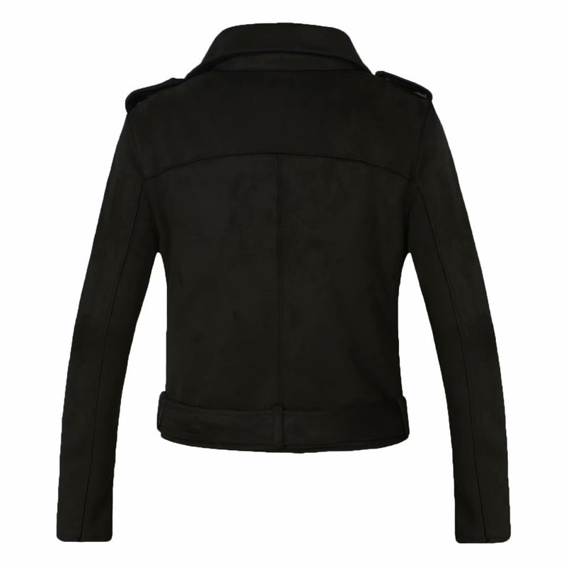'Serpent' Black faux suede motorcycle jacket