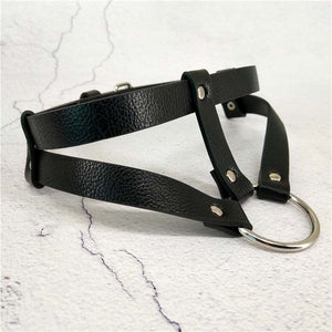 'Nailed' PU Leather Ring Choker