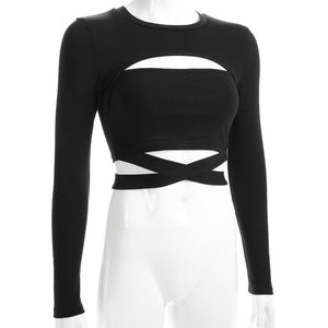 'Talk of the Town' Black long sleeved top