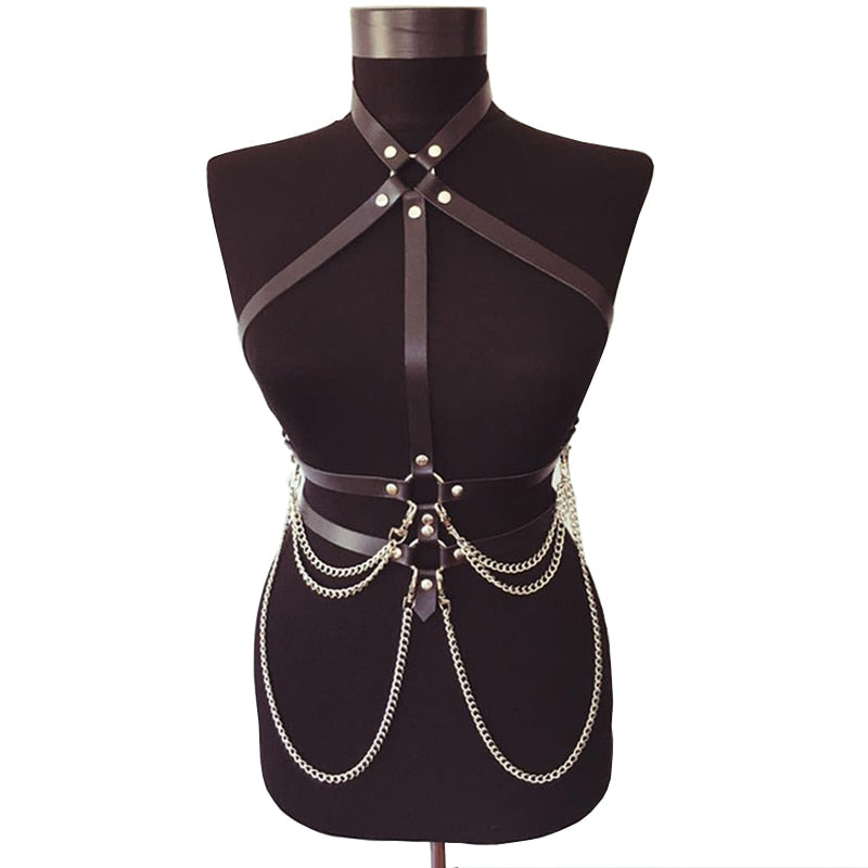 'Slave' Chain Faux Leather Harness