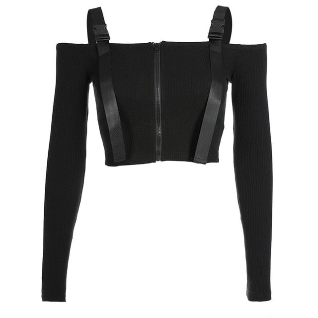 'Graveyard Shift' Black buckle long sleeved top