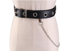 Chain rivet PU faux leather belt