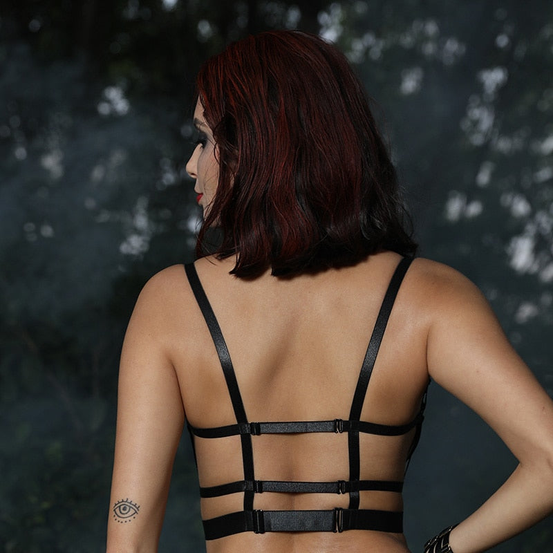 'Munster' Black pentagram cage bra top