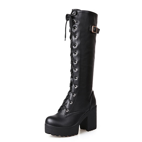 'Long Night' Black knee high lace up boots (Larger Sizes)