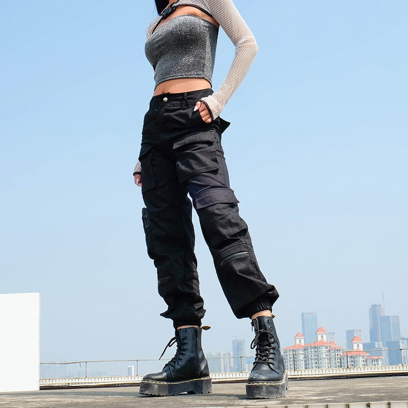 'Take Control' Black cargo pants