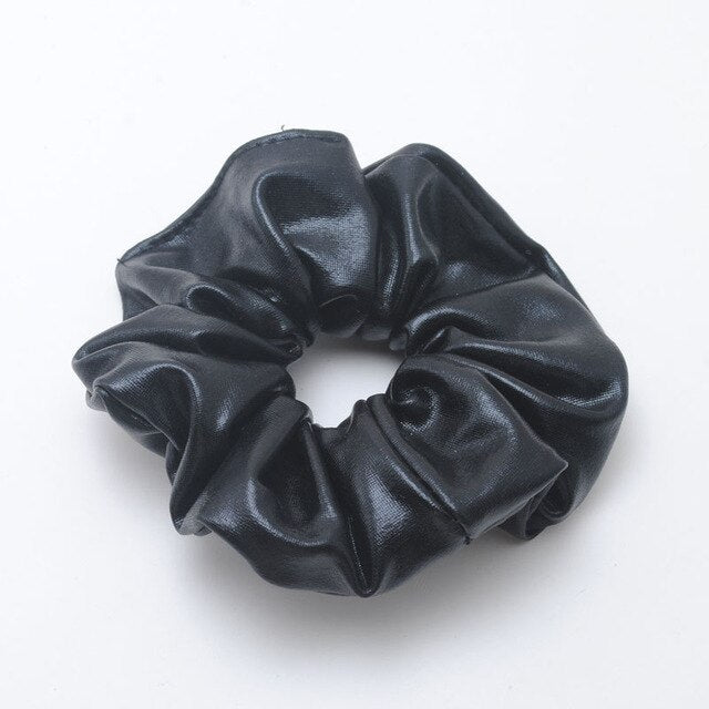 Black PU hair scrunchie