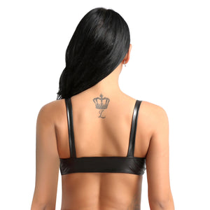 Sexy Faux Leather Bra Crop Top