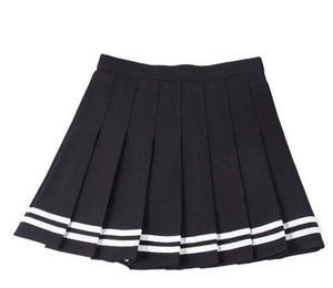 'Deadly Delight' Black skirt with white stripes