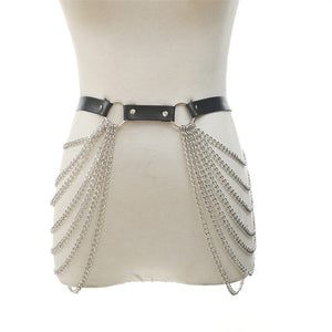 'Deadbeat' PU Leather Top and  Chain Harness