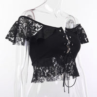 'Mad Hatter' Black lace off the shoulder top