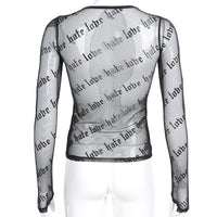 'Loves Me Not' Long sleeve mesh top