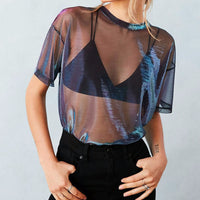 Metallic mesh cropped t shirt.