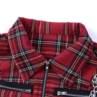'Telling Lies' Red plaid zip up crop top