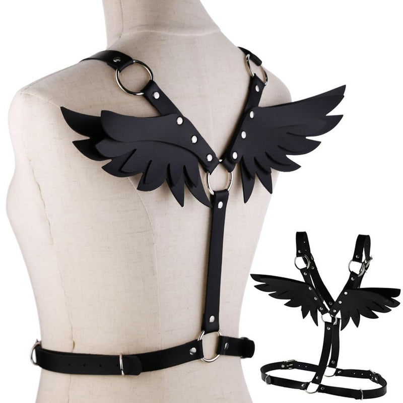 'Angel of Death' faux leather wing harness