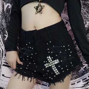 'Danger' Black studded cross shorts