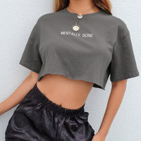 'Mentally Gone' Grey Cropped T-Shirt