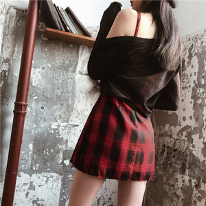 'Till Death' Red and Black Plaid Dress
