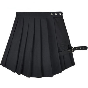 'Omen' Black pleated skirt with shorts