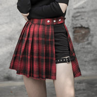 'Dead Ringer' Red and Black Plaid Skirt