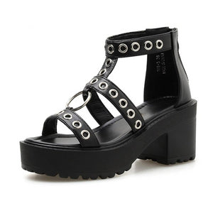 'Heat It Up' black rivet summer platform shoes faux leather