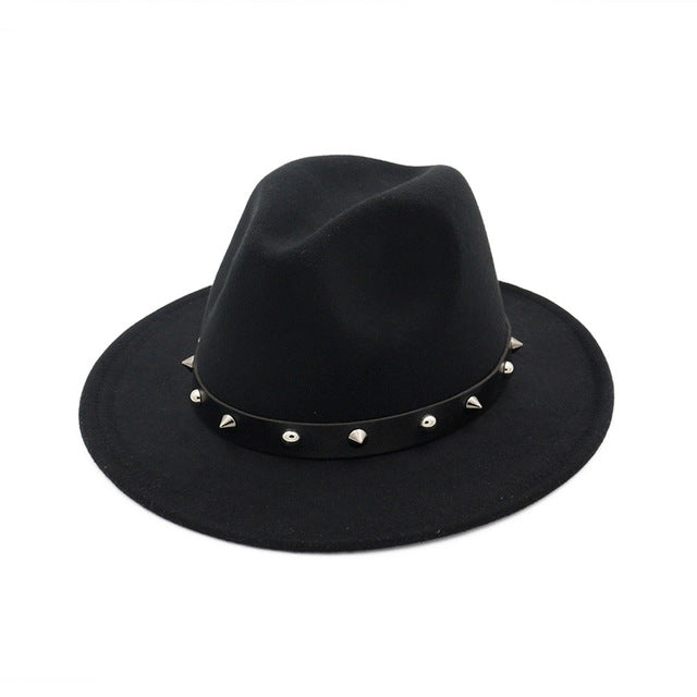 'Fedorable' Black stud fedora hat