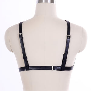 'Alone in the Dark' Black triple ring faux leather harness