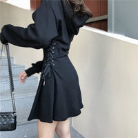 'Misery' Gray or Black lace up hooded casual dress