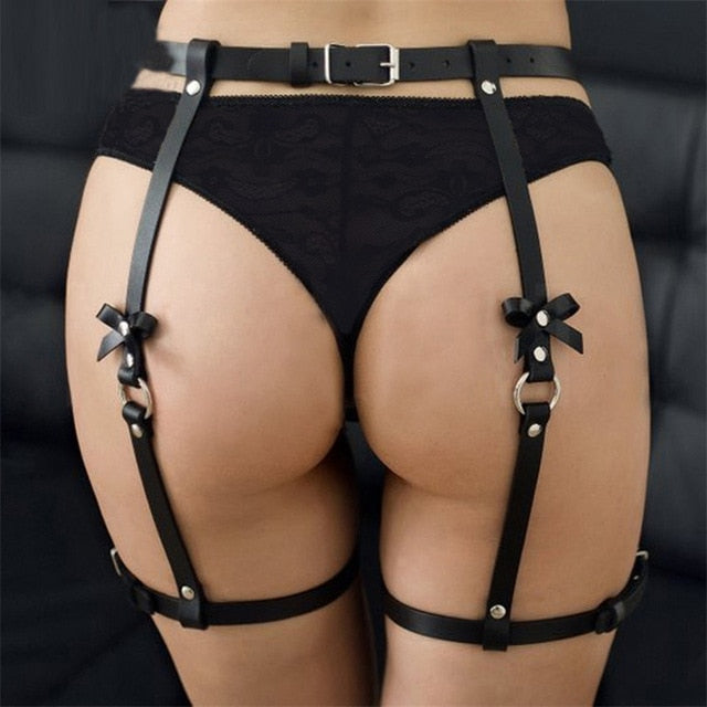 Faux leather bow harness garter