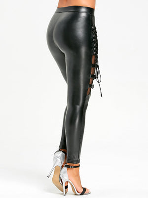 'It's Magic' Black PU buckle lace up leggings