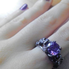 'Deathly Duo' gunmetal black tone purple stone ring