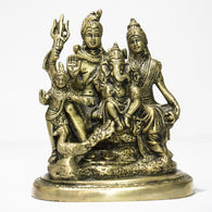 Brass idol of Shiva parivar with kartik large