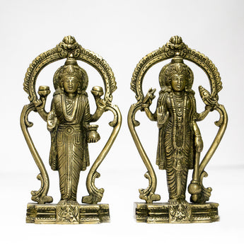 Brass idol of Lord vishnu and Goddess Lakshmi