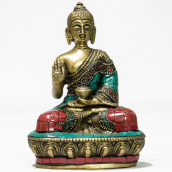 Brass and beautiful mosaic Buddha sitting