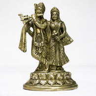 Brass idol of Blissful Radha Krishna