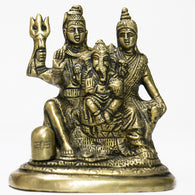 Brass idol of Shiva parivar with shivlinga
