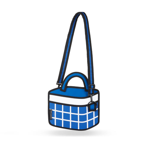 Dark Blue Checked Handbag - JumpFromPaper