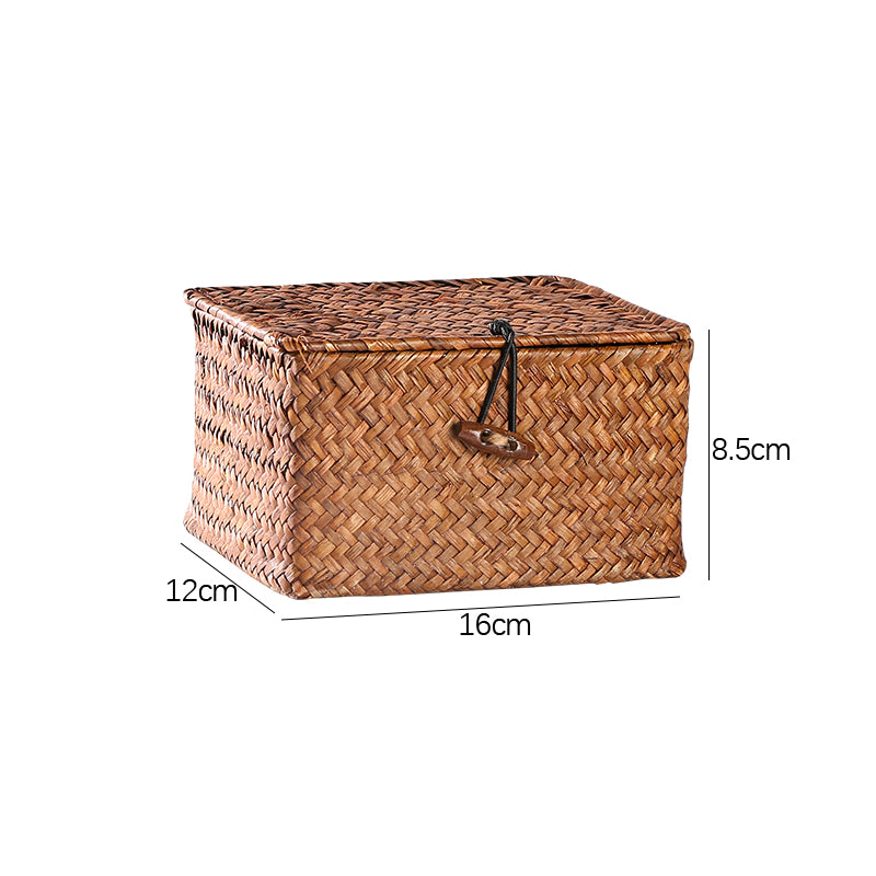 Willow Wicker Gift Box Plant Pot Case Succulent Container Flower Planter Tan