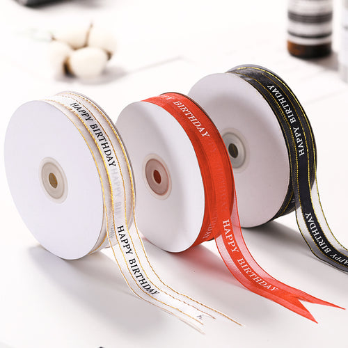 50 Yards 1 inch Wide Satin Ribbon for Wedding Gift Box Wrapping Decoration : Happy Birthday