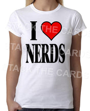 I Heart Love Nerds - Womens White T-Shirt - Geek Retro Fun Kitsch Cute - Stack The Cards - [variant_title]
