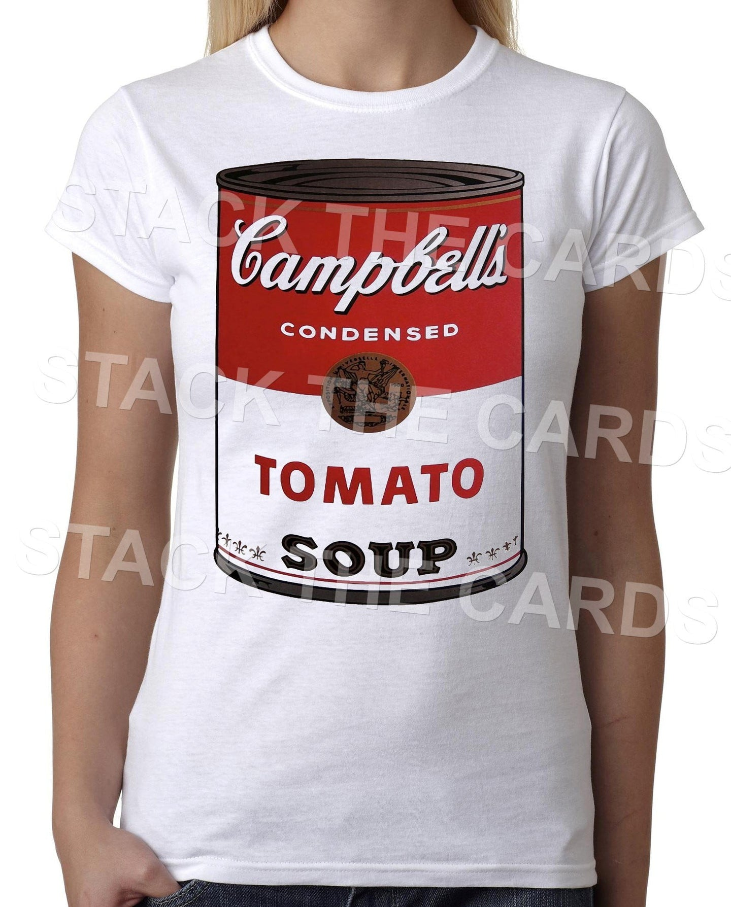 Campbells Soup - Womens White T-Shirt - Geek Retro Fun Kitsch Cute - Stack The Cards - [variant_title]